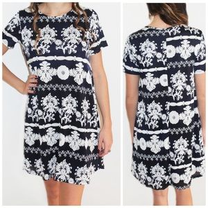 Show Me Your Mumu Em Mini Dress Blue/White Small